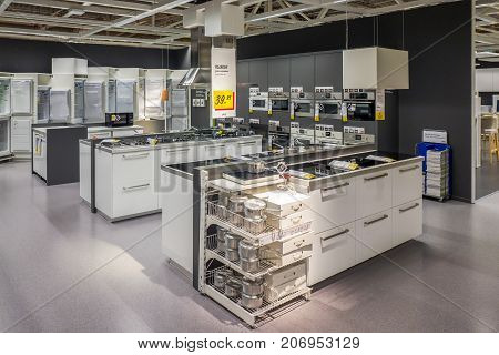 NETHERLANDS - DELFT - SEPTEMBER 16 2017: Interior of the Ikea store in Delft in The Netherlands. Showing kitchen appliances.