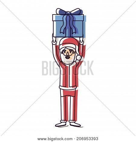 santa claus caricature full body holding up a gift with hat and costume watercolor silhouette on white background vector illustration