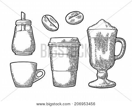 Set glass coffee. Disposable cup with cardboard holder and cap. Latte macchiato with whipped cream. Sugar shaker and beans. Vintage black vector engraving illustration isolated on white background