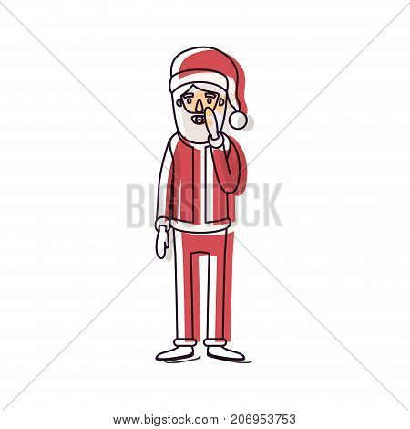 santa claus caricature full body with surprised expression hat and costume watercolor silhouette on white background vector illustration