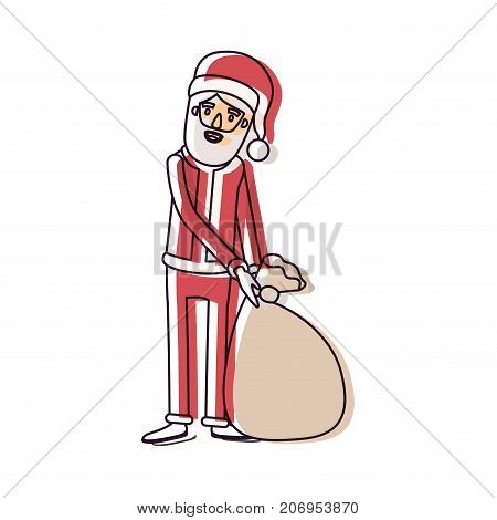 santa claus caricature full body dragging a gift bag hat and costume watercolor silhouette on white background vector illustration