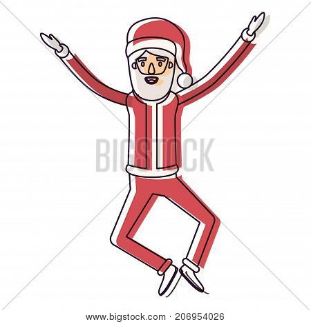santa claus caricature full body jumping with hat and christmas costume watercolor silhouette on white background vector illustration