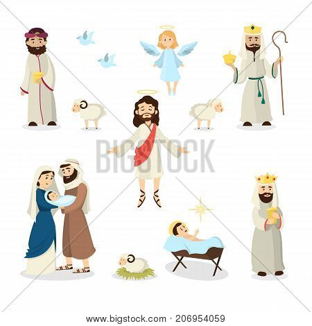 Jesus Christ story illustration with Mary, Joseph and sheep.