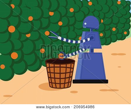 Domestic robot picking fresh fruits and collecting in a basket. Robotic gardening futuristic concept illustration vector.