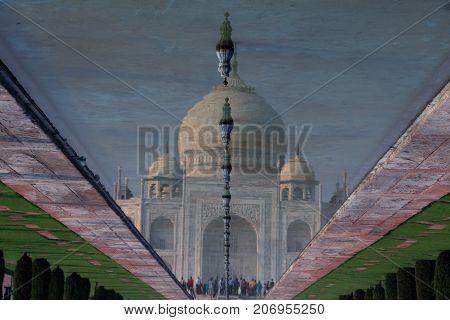 Reflection of Taj Mahal in Fountain Water Agra India