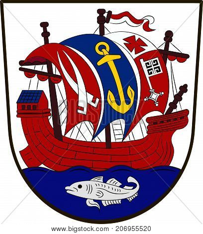 Coat of arms of Bremerhaven is a city at the seaport of the Free Hanseatic City of Bremen of Germany. Vector illustration
