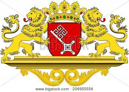 Coat of arms of The Free Hanseatic City of Bremen is the smallest of Germany 16 states. Vector illustration