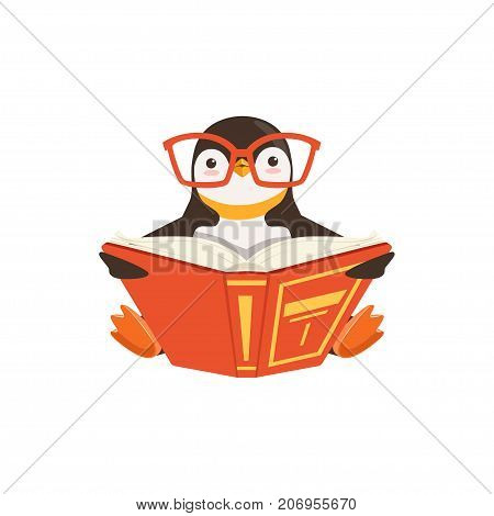 The image shows a penguin who is reading a red book in a sitting position on white background.