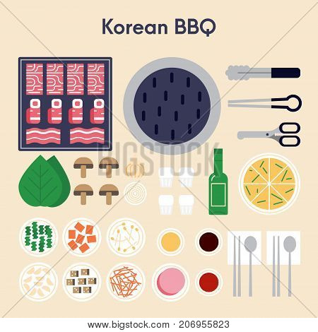 Main ingridients for korean bbq - pork, beef, kimchi, onion, mushrooms seasoning