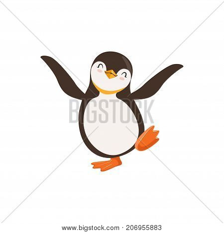 The image shows a penguin who is happy and is dancing with its eyes closed. The image has white background.