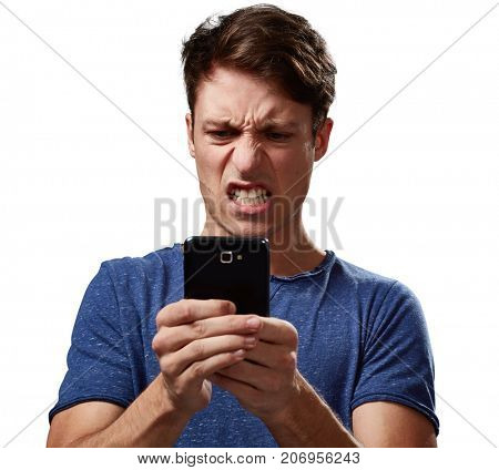 Angry man with smartphone
