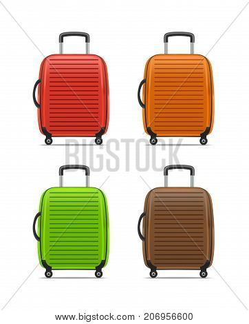 Realistic Detailed Color Case or Suitcase with Handle Set Isolated on a White Background Symbol of Tourism. Vector illustration
