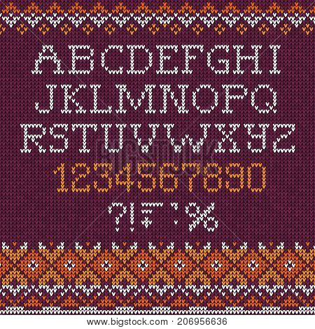 Handmade Knitted Abstract Background Pattern Font Alphabet Abc Letters, Numbers,