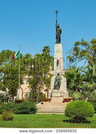 War Memorial Monument In Piazza Dante Alighieri. Galatina, Apulia, Italy.