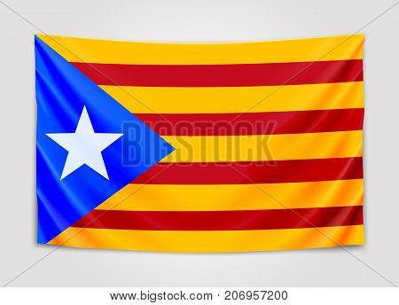 Hanging flag of Catalonia. Catalonia referendum. National flag concept. Vector illustration
