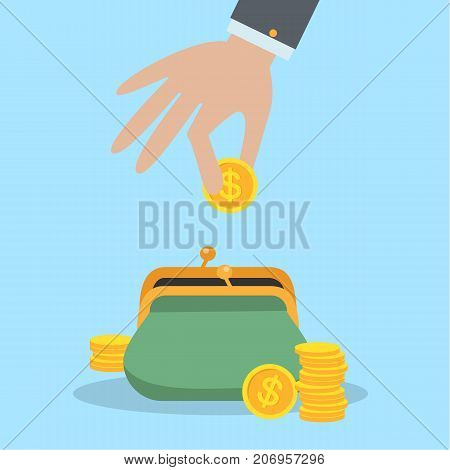 Putting coins in purse. Dollar currence. Idea of savings.