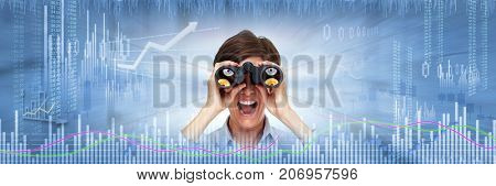 Investor woman with binoculars