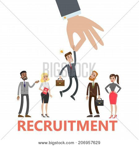 Recruitment concept illustration. Picking up the best candidate.