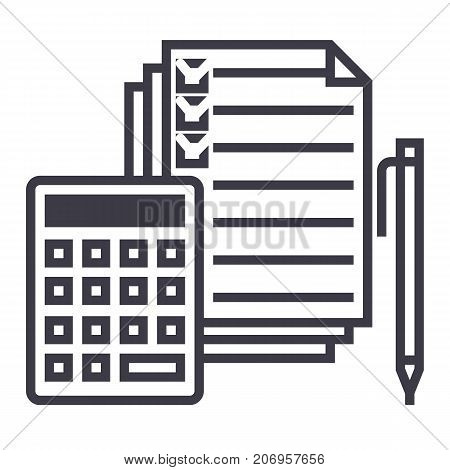 accounting, calculator, pen, checkbox, docs vector line icon, sign, illustration on white background editable strokes