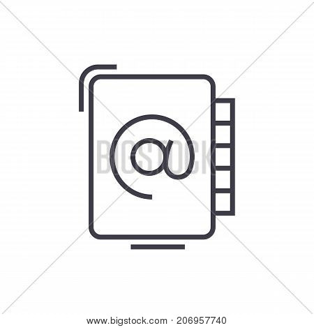 address book vector line icon, sign, illustration on white background, editable strokes