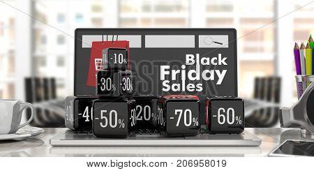 Black Friday Online Sale. Black Sale Cubes On A Laptop. 3D Illustration