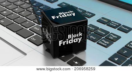 Black Friday Online Sale. Black Cube On A Laptop. 3D Illustration