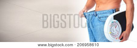 Man abdomen with scales