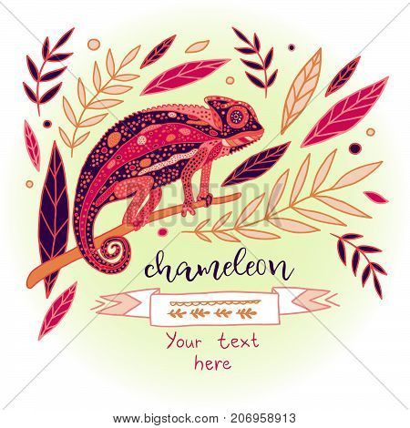 Chameleon vector color illustration. Beautiful reptile and leaves picture.