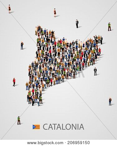 Large group of people in form of Catalonia map. Population of catalonia or demographics template. Referendum concept. Vector illustration