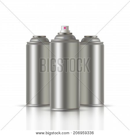 Paint Aerosol Spray Metal 3D Bottle Can, Graffiti, Deodorant, Household Chemicals, Poison. Front View. Illustration Isolated On White Background. Mock Up Template For Your Design. Vector EPS10