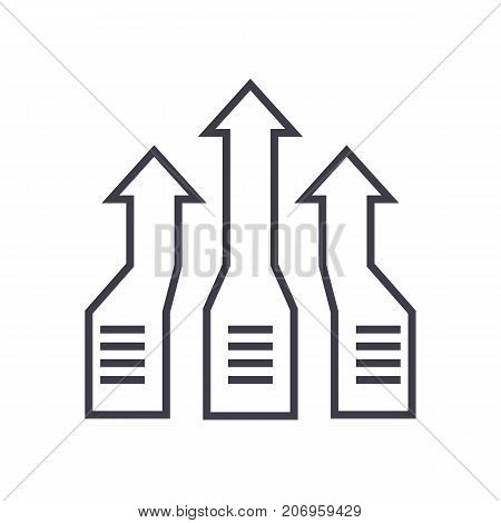arrows up, progress vector line icon, sign, illustration on white background, editable strokes