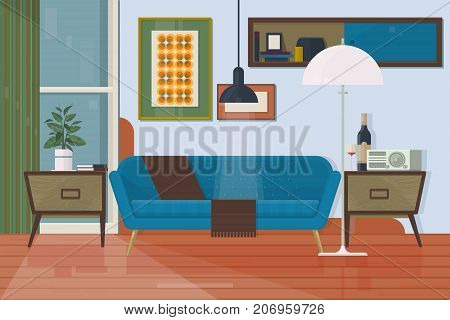 Living room with furniture. Armchair couch torchere cupboard sofa painting. Isolated vector objects. Living room with furniture. Armchair couch torchere cupboard sofa painting Isolated vector objects Flat vector illustration