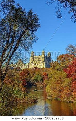Lake in Central Park in autumn New York City USA