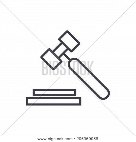 auction, hammer vector line icon, sign, illustration on white background, editable strokes