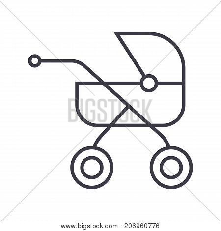 baby buggy, carriage vector line icon, sign, illustration on white background, editable strokes