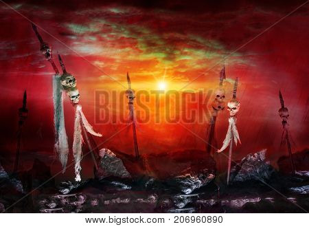 Skulls impaled on spears. The day of death after losing war and killed. Horror scene on halloween day. Studio recreate