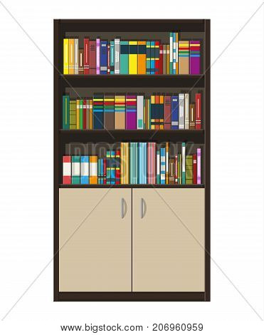 Library wooden book shelf. Bookcase with different books. Room furniture, cabinet with doors. Vector illustration in flat style