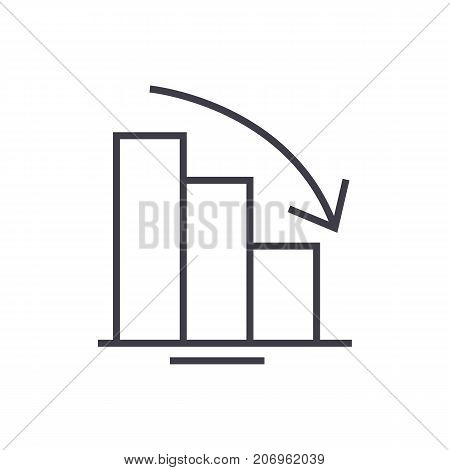 bars descending graph vector line icon, sign, illustration on white background, editable strokes