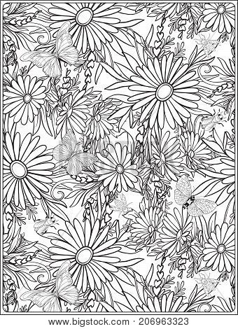 Floral seamless pattern with butterflies and bees  in realistic botanical style.  Stock vector illustration. Outline hand drawn.