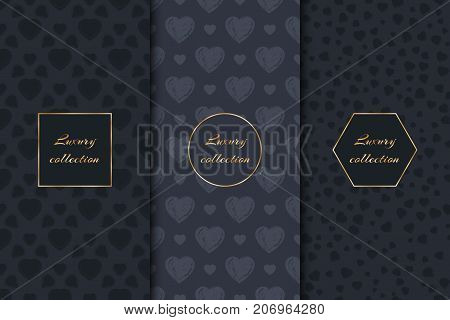 A set of luxurious backgrounds with hearts and gold elements for the design of luxury goods.
