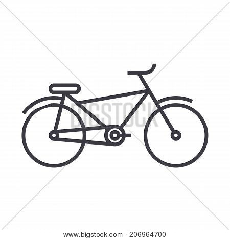 bicycle vector line icon, sign, illustration on white background, editable strokes