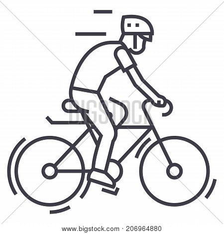 bicycling, bycicle man vector line icon, sign, illustration on white background, editable strokes