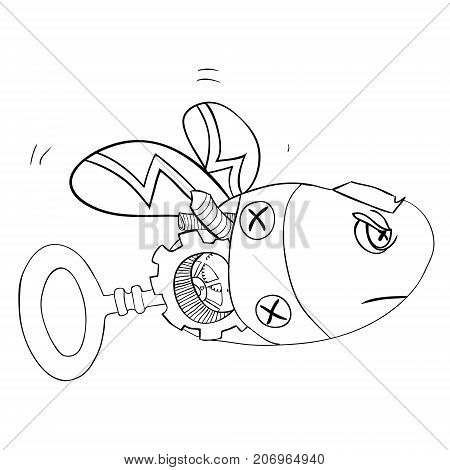 sketch of a robot wasp or bee - Steampunk style. Vector illustration