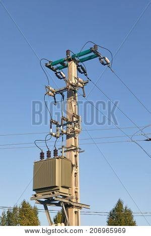 Power line with transformer substation