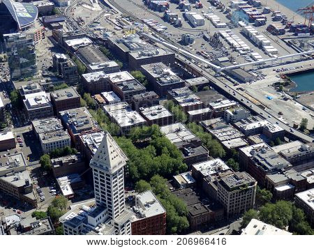 SEATTLE-- JUNE 25: Big beautiful aerial view of Seattle downtown Stadiums and waterfront from a high vantage point on June 25 2016 in Seattle WA.