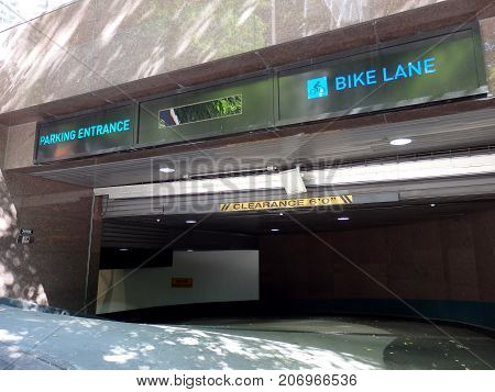 SEATTLE-- JUNE 25: Parking Garage Entrance with Bike Lane of the Columbia Center on June 25 2016 in Seattle WA.