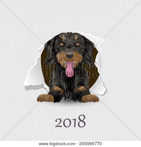 Flyer with the numbers 2018 and a happy dog symbol 2018 year on Chinese calendar.