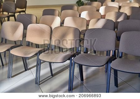 Chairs in rows in a room