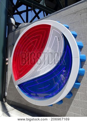SEATTLE - JUNE 26: Neon Pepsi Logo on Wall at Safeco Field before baseball game Seattle in June 26 2016.