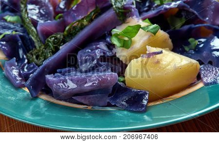 Red cabbage potato hash , close up meal